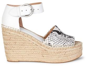 Marc Fisher Snakeskin-Embossed Leather Espadrille Wedge Sandals