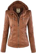 NiSeng Women's Casual Zip Up Faux Leather Bomber Jacket with Hoodie 2XL