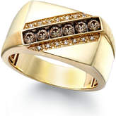 Macy's Men's Champagne and White Diamond Ring in 10k Gold (1/4 ct. t.w.)