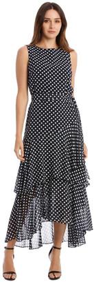 Karl Lagerfeld Paris Polkadot Print Sleeveless Maxi Dress
