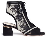 Nicholas Kirkwood 'Phoenix' embroidered suede lace-up sandal boots