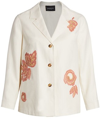 Lafayette 148 New York, Plus Size Colman Embroidered Raffia Jacket