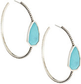Stephen Dweck Large Cathedral Silver & Turquoise Hoop Earrings