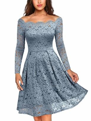MIUSOL Women's Off Shoulder Long Sleeve Lace Evening Dress Black M