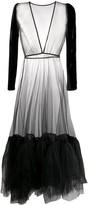 Alchemy velvet-sleeved tulle gown