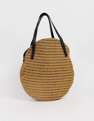 Vero Moda straw circle tote bag-Brown