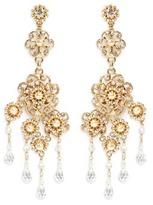 Miriam Haskell Crystal Baroque pearl filigree floral drop earrings