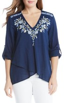 Karen Kane Women's Embroidered Asymmetrical Wrap Front Top