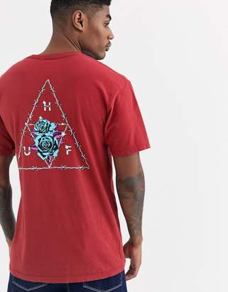 HUF Dystopia Triple Triangle t-shirt with floral back print in red