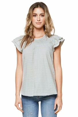 Sugar Lips Womens Not Your Average Short Sleeve Smocked Top Blouse
