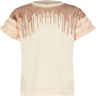 River Island Girls Pink embellished tassel T-shirt