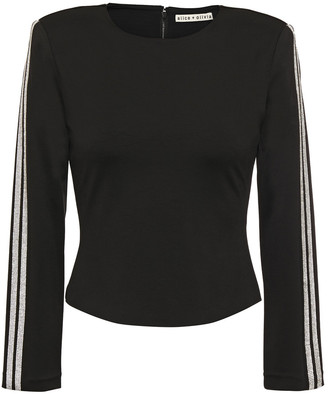 Alice + Olivia Raven Crystal-trimmed Stretch-knit Top