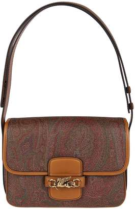 Etro Brown Leather And Canvas Shoulder Bag