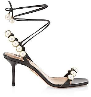 Aquazzura Women's Mae Faux Pearl-Embellished Lace-Up Leather Sandals