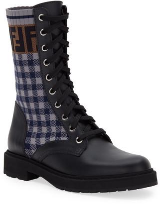 Fendi FF Gingham Sock Hiker Combat Boots
