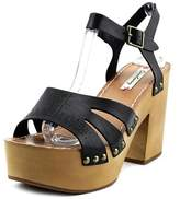 Coolway Cassandra Women Open Toe Leather Black Platform Sandal.