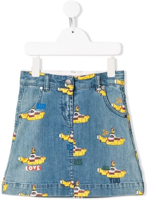 Stella Mccartney Kids Submarine Print Denim Skirt