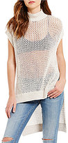 Free People Dusk Til Dawn Mock Neck Sleeveless Open Knit Tunic