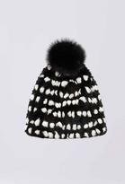 Diane von Furstenberg Graphic Rabbit Fur Pom Pom Hat