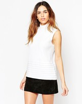 Asos Sleeveless Top With Funnel Neck In Vertical Ripple Stitch
