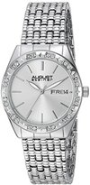 August Steiner Women's AS8177SS Silver Crystal Accented Quartz Watch with Silver Dial and Silver Bracelet