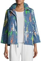 Caroline Rose Paint Splash Zip-Front Denim Jacket, Petite