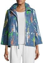 Caroline Rose Paint Splash Zip-Front Denim Jacket, Petite