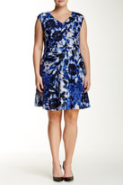 Maggy London Floral V-Neck Fit & Flare Dress (Plus Size)