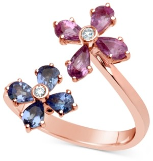 Macy's Multi-Gemstone (1-3/4 ct. t.w.) & Diamond Accent Flower Ring in 14k Rose Gold