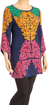 Aryeh Navy & Pink Leaf Bell-Sleeve Tunic Sweater - Plus