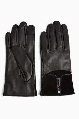 Topshop Black Leather Touchscreen Gloves