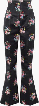 Emilia Wickstead Nella Floral-print Satin Bootcut Pants