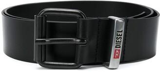 Diesel Square Buckle Engraved Logo Belt