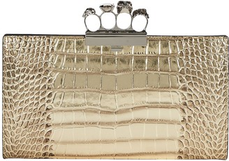 Alexander McQueen Skull Four Ring Embossed Clutch