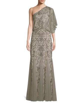 Adrianna Papell Women's One Shoulder Blousson Beaded Gown