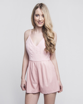 Missy Empire Rosalia Baby Pink Faux Leather Matte Playsuit