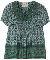 Sea Ruffled Printed Silk Blouse - Forest green