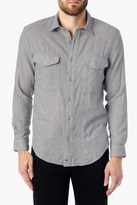 7 For All Mankind LONG SLEEVE DOUBLE FACE MéLANGE DENIM SHIRT IN PALE GREY
