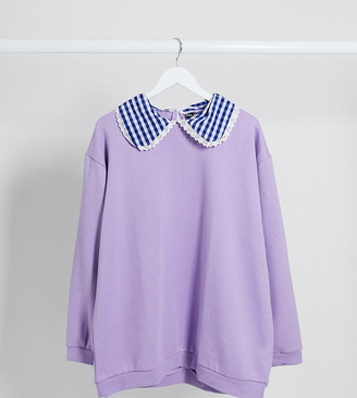 Daisy Street Plus oversized sweatshirt with gingham collar