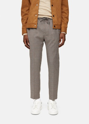 Topman Brown Houndstooth Stretch Skinny Joggers