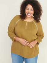 Old Navy Embroidered-Stitch Plus-Size Blouse