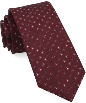 Tie Bar Sparkler Medallions Burgundy Tie