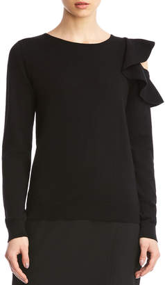 Bailey 44 Stacey Crewneck Sweater with Ruffle Shoulder Cutout Detail