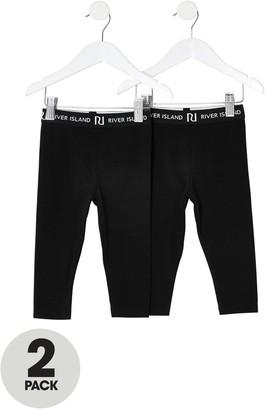 River Island Girls 2 Pack Waistband Leggings-Black