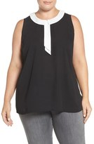 Vince Camuto Plus Size Women's Contrast Collar Sleeveless Blouse