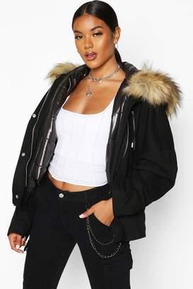 boohoo Faux Fur Trim Detachable Gilet Parka