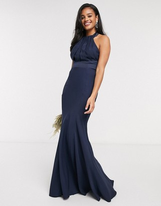 ASOS DESIGN Bridesmaid halter pleated maxi dress with panelled skirt in Navy