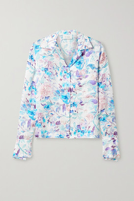ART DEALER Floral-print Silk-satin Jacquard Shirt - White