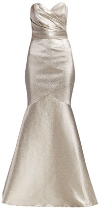 Theia Metallic Strapless Stretch Lame Mermaid Gown