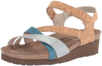Naot Footwear Women's Sophia Sandal Gold Cork/Ice Blue/Vintage Blue 6 M US